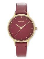 Engelsrufer Uhr Colour - Edelstahl Gold - Lederarmband Rot