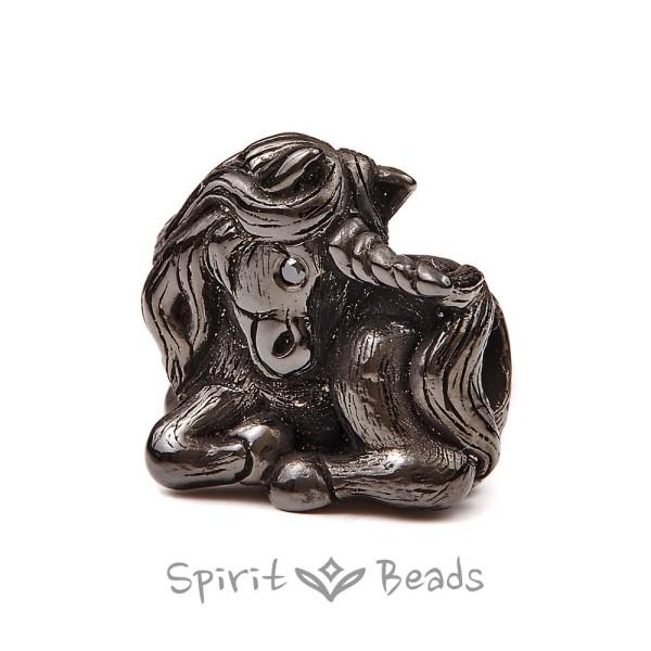 Spiritbeads Schwarzes Einhorn mit schwarzem Diamant