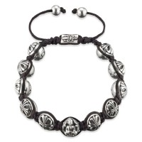 Gervida Armband Silberperlen 10 Knoten und Buddha