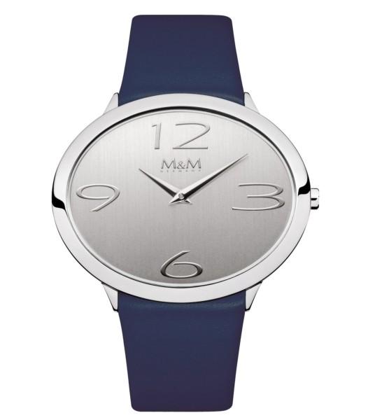 M&M Damen-Armbanduhr Ovaltime dunkelblau-silber Analog Quarz