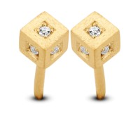 Spirit Icons - Block Studs - Yellow Gold - Zirconia