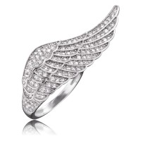 Engelsrufer Ring Flügel Silber Crystal