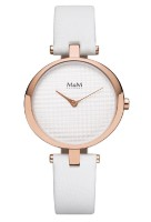 M&M Damen-Armbanduhr Ring O weiß-rosé Analog Quarz