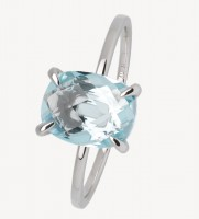 Xenox Fine Collection - Ring - 375 White Gold - blue topaz