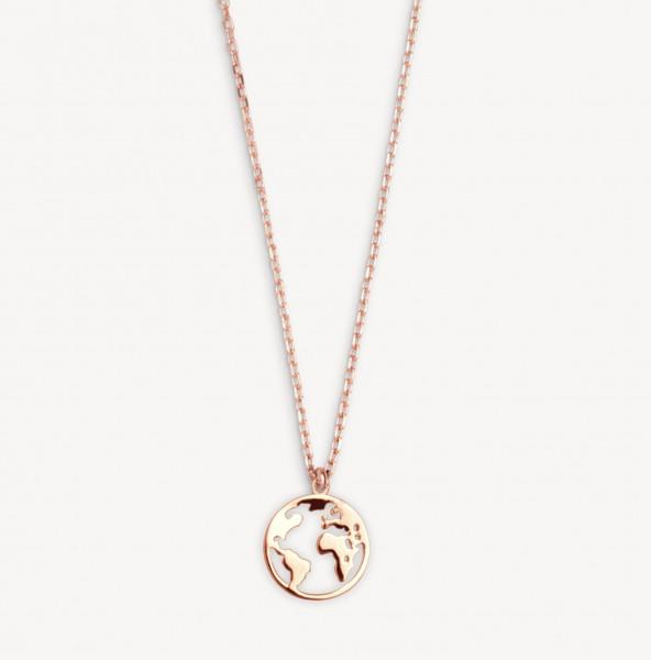 Xenox Silver Wanderlust - Necklace, Rosegold, Globe
