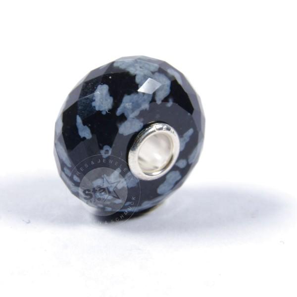 Trollbeads Schneeflocken Obsidian facettiert