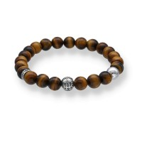 Spiritbeads Beadsbracelet with Tigerauge and Lotus-Flower