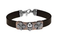 Platadepalo Leather silver and bronze bracelet SKULL