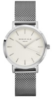 Rosefield The Tribeca Kollektion Uhr Mesh Edelstahlarmband Weiß - Silber - Silber