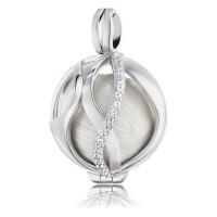 Engelsrufer Paradise mit 24 weißen Zirkonia Silber rhodiniert mit Klangkugel Perlmutt