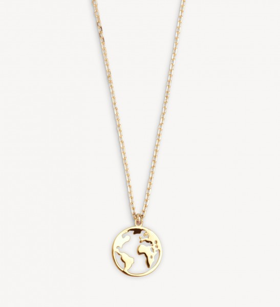 Xenox Silver Wanderlust - Necklace, Gold, Globe