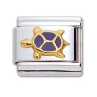 Original Firenze Gold Emaille Schildkröte blau