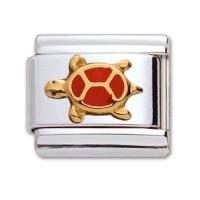 Original Firenze Gold Emaille Schildkröte rot