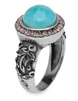 Platadepalo WOMAN Ring mit rundem Stein Amazonit - Silber