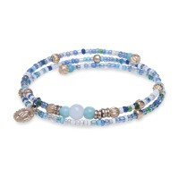 Platadepalo Summertime'19 elastic bracelet - Bronze and Blue Crystal