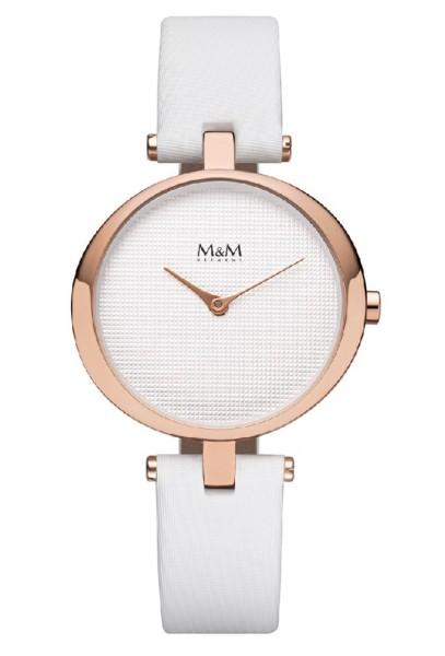 M&M Damen-Armbanduhr Ring O weiß-rosé Analog Quarz