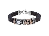 Platadepalo Leather silver bronze and pearl bracelet SKULL
