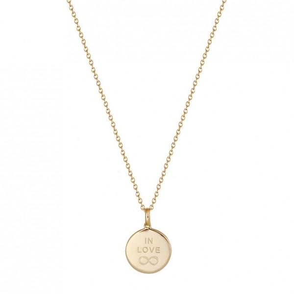 Xenox Halskette Rundes Medallion vergoldet In Love