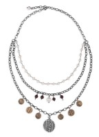 Platadepalo Necklace - Pendants Silver, Bronze, Garnet and fresh water pearls