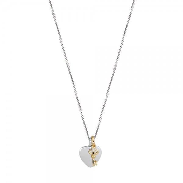 Xenox Halskette Herz mit vergoldetem Schlüssel - Gravierbar