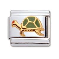 Original Firenze Gold Emaille Schildkröte grün