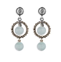 Platadepalo TREND Earrings - Silver, Bronze and Amazonite
