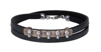 Platadepalo SKULL Leather Bracelet - Silver and Bronze