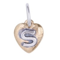 Waxing Poetic Imprinted Oval insignia Charm Letter S