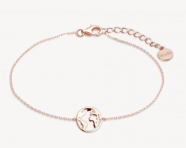 Xenox Silber Wanderlust - Armband, Roségold, Weltkugel