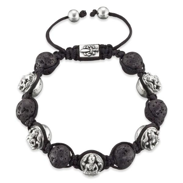 Gervida Armband mit Lavasteinen und fünf Buddha