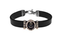 Platadepalo SKULL Leather, zirconia and bronze bracelet SKULL