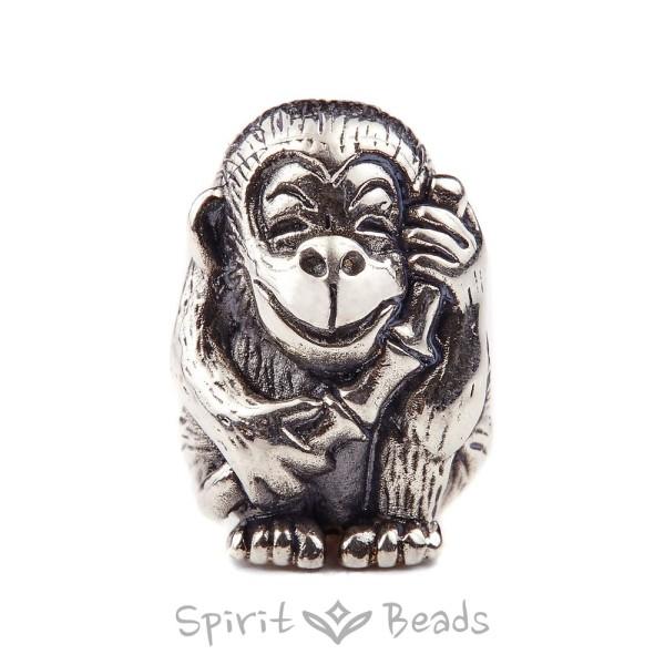 Spiritbeads Fröhlicher Affe Silber