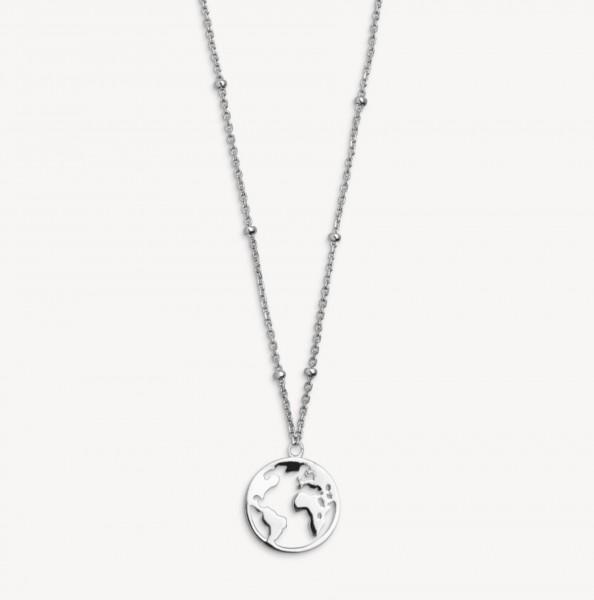Xenox Silber Wanderlust - Halskette, Silber, Weltkugel
