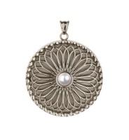 Traumfänger Medaillon Stahl mit Perle