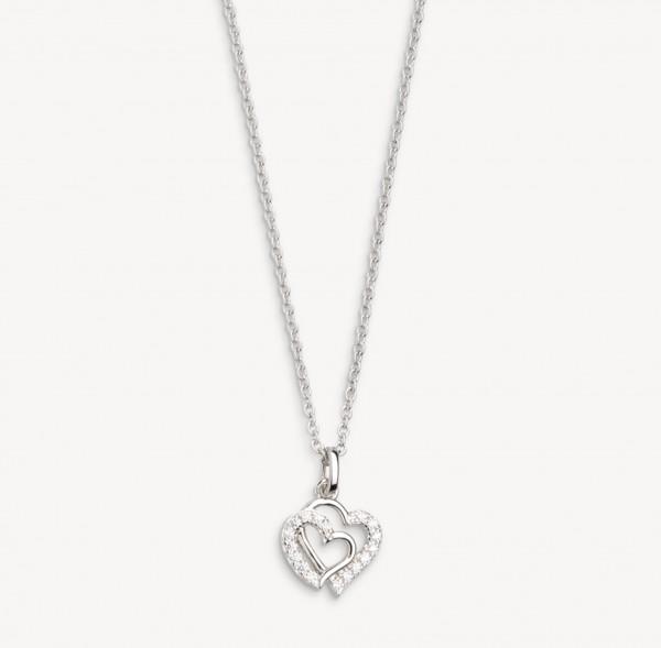 Xenox Silber Power Tower - Love Story Halskette Silber Zirkonia Herz Anhänger