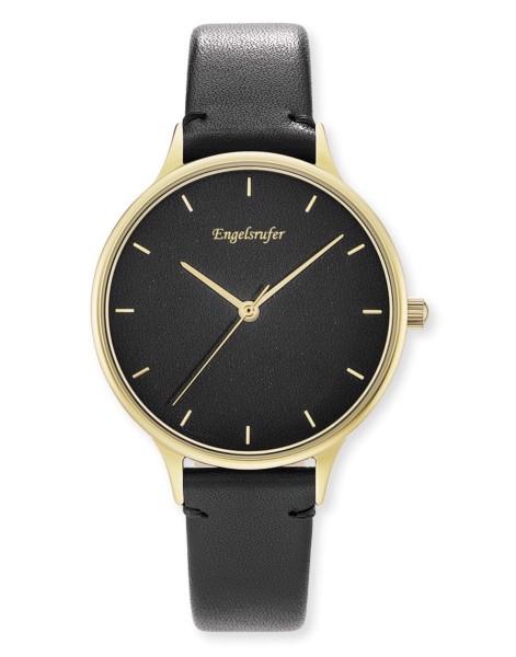 Engelsrufer Uhr Colour - Edelstahl Gold - Lederarmband Schwarz
