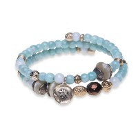 Platadepalo Summertime'19 bracelet - Bronze, Silver, Amazonite and Crystal