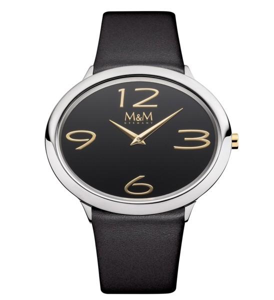 M&M Damen-Armbanduhr Ovaltime schwarz-silber Analog Quarz