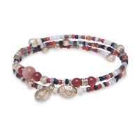Platadepalo Summertime'19 elastic bracelet - Bronze and Red Crystal