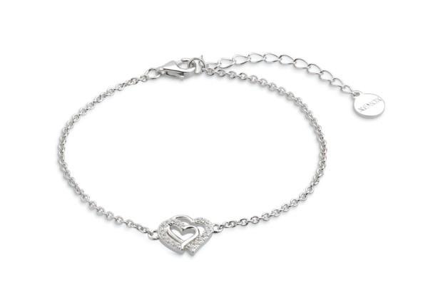 Xenox Silber Power Tower - Love Story Armband Silber Zirkonia Herz Anhänger