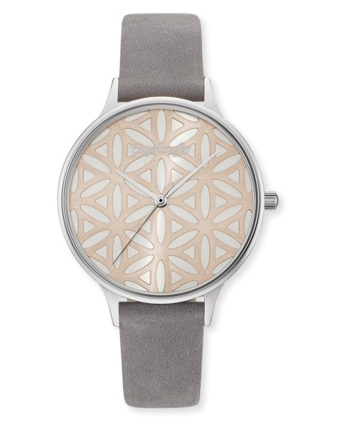 Engelsrufer Uhr Lebensblume - Edelstahl Rosé - Nubuklederarmband Grau